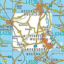 L4338 Bitterfeld-Wolfen Topographische Karte 1:50000: DTK50 Sachsen-Anhalt