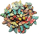KINGSO 50pcs 2 Holes Mixed Butterfly Wooden Button Sewing Scrapbooking DIY Craft
