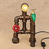 Modeen Home Wasserhahn Red Ventilgriff Green Hahn Tischlampe Schreibtisch Lampe Nachttisch Holz Basis Tisch Lampen Loft Retro Wasser Rohre Lampen Bar Dekoration Lampen Kreative Lampen Push Button Switch