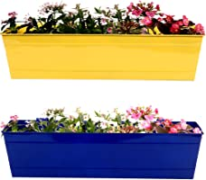 Trust Basket Rectangular Railing Planter (23-inch, Yellow and Blue, Pack of 2)