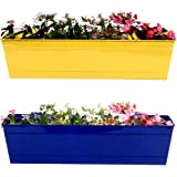 TrustBasket Rectangular Railing Planter (23-inch, Yellow and Blue, Pack of 2)