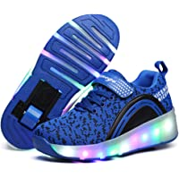 Letao LED Luci Brillantini Scarpe Sportive con Rotelle per Bambini Ragazze e Ragazzi Retrattile Singolo Ruote Skateboard…