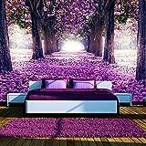murando - Fototapete Weg 350x256 cm - Vlies Tapete - Moderne Wanddeko - Design Tapete - Wandtapete - Wand Dekoration - Blumen Bäume Allee violett c-A-0031-a-c