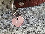 Gravuren.store 2 Stück Hunde-Katzenmarke Herz, Adressanhänger aus Aluminium, (24,5mm X 20mm S, Rose)
