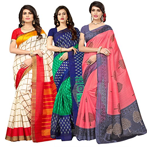Oomph! Women's Raw Silk Printed Sarees Combo - Multi_combo3_778280
