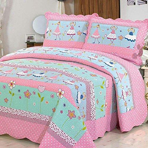 Alicemall Tagesdecke Baumwolle Bettüberwurf 150x200cm Kinder Überwurf Decke Sommerdecke Gesteppt - Blumen und Mädchen