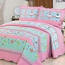 alicemall ropa de cama algodn colchas juveniles estampado chica bailado rosa y verde cubrecama manta edredn