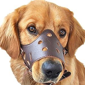 JUNMO® chien en cuir Muselière anti-aboiement pour les grands chiens de petite taille moyenne