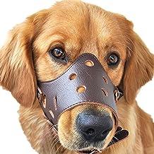 JUNMO® Ajustable de Cuero Hocico del Perro Anti-Morder Transpirable Seguridad del Animal Doméstico del Perrito de la Máscara de Bozales para Morder y Ladrar (Marrón, XL)