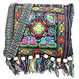 Bolso de Hombro étnico Retro Hmong Bordado Boho Hippie Borla Bolso Oblicuo (Azul Oscuro)