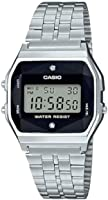 Casio Mens Digital Watch, Digital Display and Stainless Steel Strap A159WAD-1DF