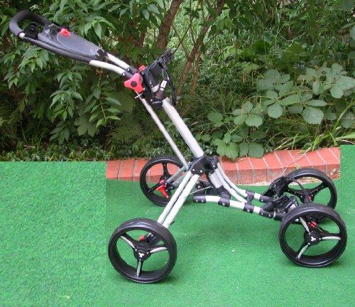 Golftrolley Quad Fast Fold Trolley 4 Räder Silber