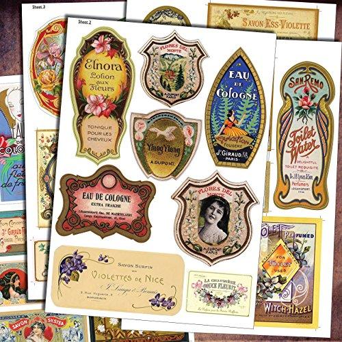 vintage-perfume-bottle-toiletries-labels-40-diy-decoupage-retro-stickers