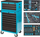 Hazet Werkstattwagen Assistent 178 N-7 mit 141 Werkzeugen inklusive Aufsatzkoffer, 1 Stück, 178N-10/141