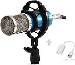 Aeoss Condenser Microphone Mic For Studio Broadcasting And Recording With USB Sound Card