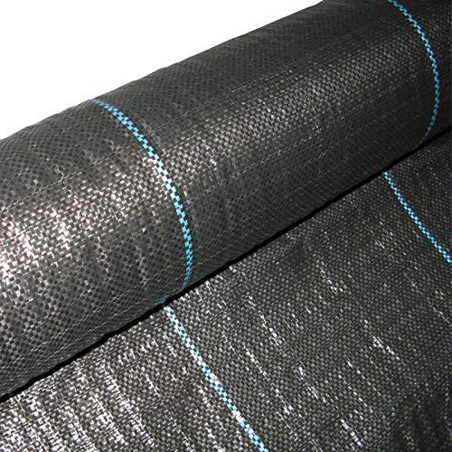 Masgard Bâche de paillage tissée 100 g/m² noir différentes dimensions (2,00 m x 10,00 m = 20 m² (pliée))