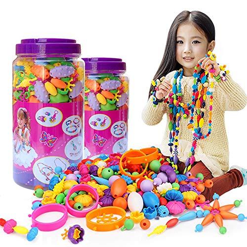 ZMH 200 Pcs DIY Pop Perlen, Education Learning Girls Toy Colorful Schmuck Macht Kits Snap Beads Set Halskette Armband Ring Akku-Assemble Kids Fun Game Gifts Art Crafts Art Crafts