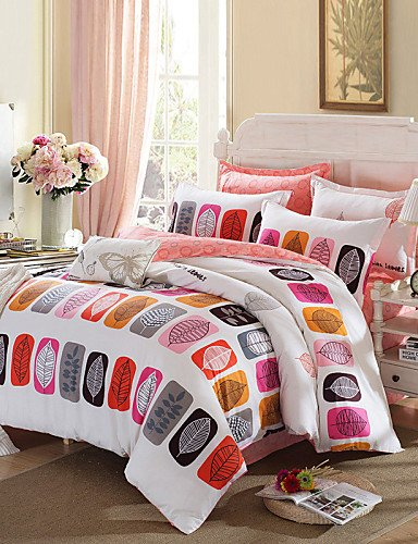 ZQ Schlagbohrmaschine verlässt Bettwäschesatz warme und weiche Bettdecke aus 100% Baumwollgewebe Bettwäsche für Schlafzimmer Blatt 4pcs , queen