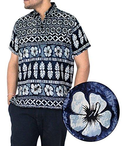 LA-LEELA-Shirt-camisa-hawaiana-Hombre-XS-5XL-Manga-corta-Delante-de-bolsillo-Impresin-hawaiana-casual-Regular-Fit-Camisa-de-Hawaii-Gris-332-5XL