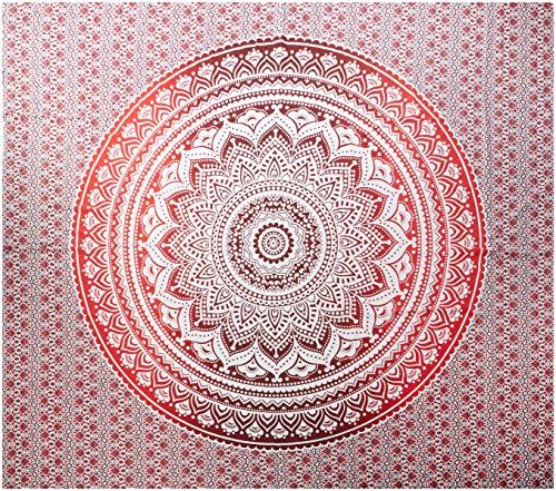 Raajsee, esclusivo tappeto decorativo con mandala anche come biancheria da letto, arazzo, applicazione a muro, multicolore in stile indiano, misure 220 cm x 240 cm (la x lu), cotone, red, 220*240cms