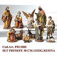 Idea Natale: Presepe natività composto da 11 statue soggetti in resina decorata (30 Centimetri)