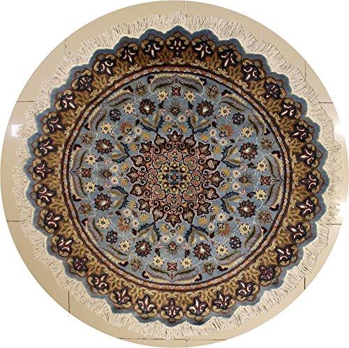 Rugstc 150 x 152 tappeto persiano pak con pila in seta e lana - fantasia floral | 100% originale annodato a mano in blu verdastro, beige & grigio | tappeto rotondo 152 x 152 di alta qualità
