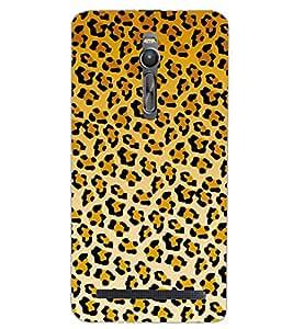 PrintDhaba TIGER MARK PATTERN D-6863 Back Case Cover for ASUS ZENFONE 2 (Multi-Coloured)