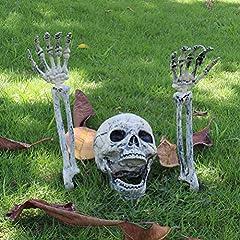 Idea Regalo - EqWong Decorazione di Halloween, 3 Pezzi Scheletro Realistico Inserimento Halloween Horror Sepolto Scheletro Vivo Cranio Decorazioni per Uso del Prato Giardino Decorazione del Cortile