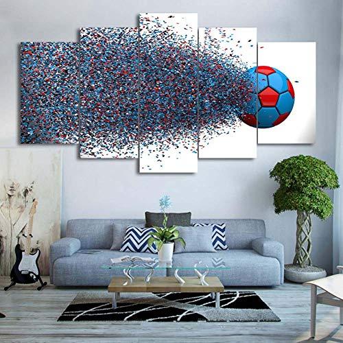 hd wall art home decorazioni tela poster dipinto 5 pannello colore sport football sala moderna foto stampata