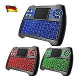 Mini Tastatur Beleuchtet,Dootoper Deutsch 2.4 GHz Wireless Keyboard/ 10 Meter Reichweite geeignet für Smart TV, Android