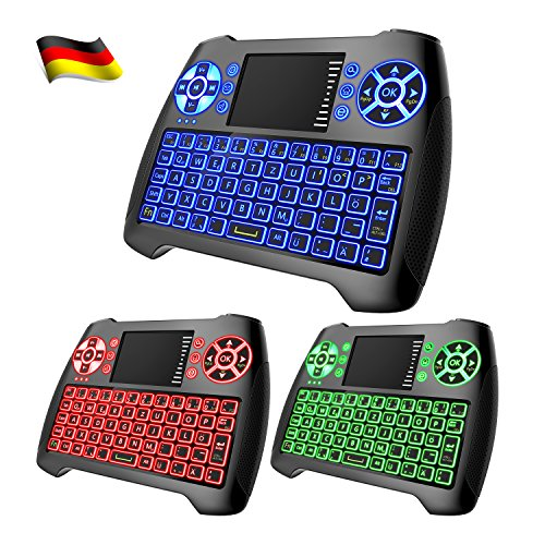 Mini Tastatur Beleuchtet,Dootoper Deutsch 2.4 GHz Wireless Keyboard/ 10 Meter Reichweite geeignet für Smart TV, Android TV Box, HTPC, IPTV, XBOX360, PC, PAD, PS3, Tablets usw. (Deutsch 3 color) (Mini-android-pc)