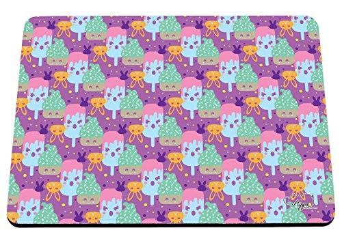 Kawaii Cupcake Kaninchen Muster bedruckt Mauspad Zubehör Schwarz Gummi Boden 240mm x 190mm x 60mm, Lilac, Einheitsgröße (Pop-art-make-up-kostüm)