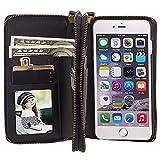 HARRMS Apple iPhone 5/5S/SE Leder Hülle Flip Case Handytasche und Brieftasche mit Standfunktion Kredit Karten Fach mit Unsichtbarem Magnet, Schwarz