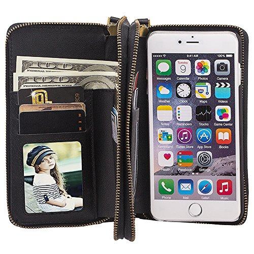 Preisvergleich Produktbild HARRMS Apple iPhone 5/5S/SE Leder Hülle Flip Case Handytasche und Brieftasche mit Standfunktion Kredit Karten Fach mit Unsichtbarem Magnet, Schwarz