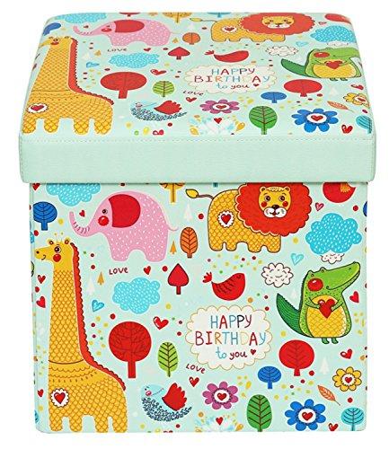 Orolay Staubox Faltbar Sitzhocker Toy Aufbewahrungsbox mit Stauraum für Kinder Cartoon-Muster 38CM (Animal)