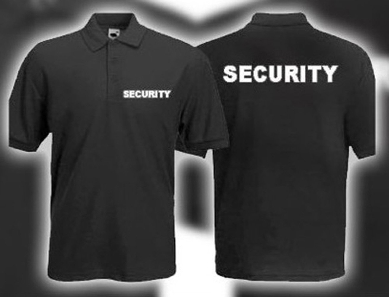 SECURITY PRINTED FRONT & BACK DOORMAN BOUNCER SECURITY GUARD BLACK ...