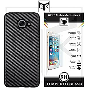 Samsung J7 Max Tempered Glass + Back Cover - TheGiftKart HD Tempered Glass + Carbon Fibre Finish Soft Back Cover (Black)