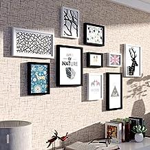SESO UK- Ensemble de cadre photo 10, ensemble de cadre photo, ensemble de cadre de mur avec 10 cadres de haute qualité, grand cadre photo cadre, couvertures 75cm x 155cm, décorations de mur meilleures, noir et blanc