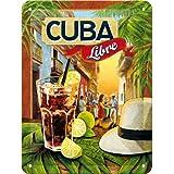 Nostalgic-Art 26143 Open Bar - Cuba Libre | Retro Blechschild | Vintage-Schild | Wand-Dekoration | Metall | 15x20 cm