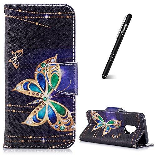 Schutzhülle für Galaxy S9,Slynmax Ledertasche Wallet Case Handyhülle Kompatibel mit Galaxy S9 Hülle Klapphülle Lederhülle Stoßfest Handytasche Stand Kartenfächer Magnetverschluss,Diamant Schmetterling - Schmetterling Lang Wallet
