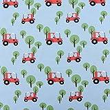 Jerseystoff Jersey Traktor Bäume hellblau 1,50m Breite