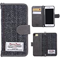 iPhone 7 Flip Case, iPhone 8 Case MONOJOY Leather Wallet Case with Card Slot Harris Tweed Wool Surface Fabric and Synthetic Suede Leather Folio Book Cover with Card Slot Magnetic Clasp Handmade Retro (iPhone 7 / 8, Grey)