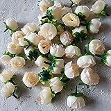 Ricisung, 50künstliche Rosen, 3cm große Blüten, Hochzeitsdekoration, champagnerfarben