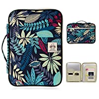 BTSKY A4 Documents Case - Multi-Functional Travel Bag Passport Holder Files Portfolio Tickets Organizer Portable IPad Bag Handbag, Office Documents Bag, Blue Leaf