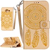 PQ-MALL Samsung Galaxy A3 (2016) Coque, Bling Bling En Or Etui Housse (Gaufrage ) Pour Samsung Galaxy A3 (2016) SM-A310F Récompense: Récompense:stylet inclus X1
