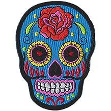 Calavera Rosas Cráneo Parche para ropa Parches Bordados Parche Termoadhesivo Aplicación Apliques Mochila Bolso Jeans Chaqueta Sombrero – Treasure-Quest
