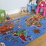 The Rug House Alfombra Infantil, diseño Colorido y Educativo con los países y océanos, Azul, 95_x_200_cm