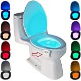 Led-toiletlamp, bewegingssensor, wc, nachtlampje, op batterijen, toiletverlichting, 8 kleuren, voor badkamer en huis