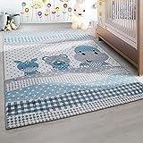 Kinderteppich Kinderzimmer Teppich Lustige Tiere Muster Grau Blau Weiß - 120x170 cm