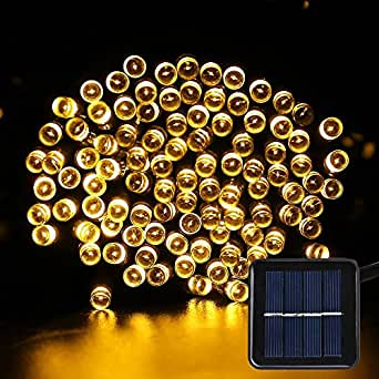 Solar Fairy String Lights - Solar Garden Lights 200 LED 8 Modes Outdoor Waterproof Decorative Lights for Outdoor, Christmas, Gardens, Homes, Party (Warm White)